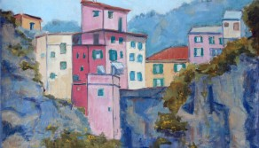 Cinque Terre Village on the Cliffs, 18x24