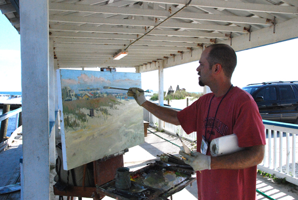 Demo by artist Jim Richards at the marina in Mexico Beach.
