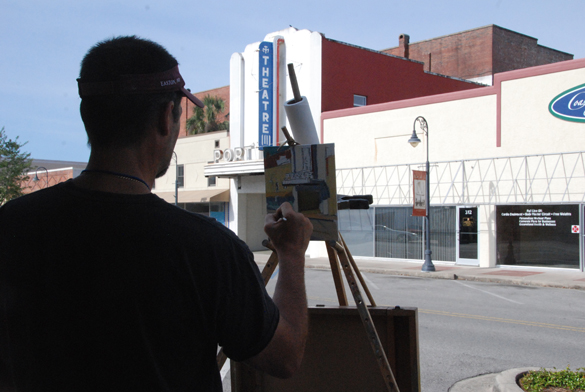 Artist Ken DeWaard painting the old theater in Port St. Joe. Yes, you are noticing a theme here - he is one of my favorite artists at the event and I love watching him paint!