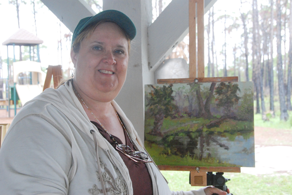 """My Quick Draw painting. I painted alongside """"invited"""" artists Greg LaRock, Hodges Soileau, and Luke Buck. And when I say """"alongside"""" I mean right by them - under one of those little picnic table shelters since it was raining cats and dogs during the two hour event!"""