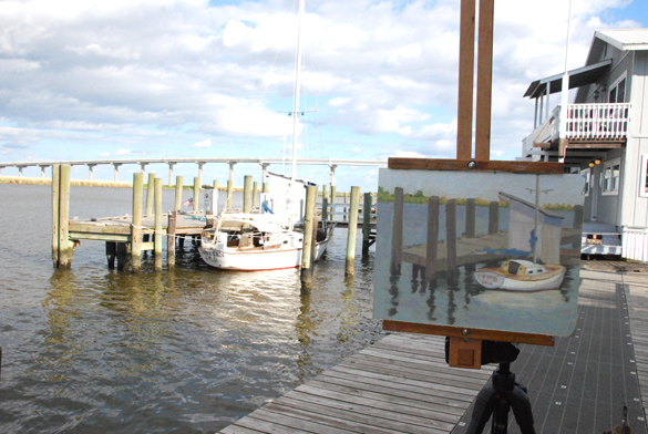 One of my many paintings from my time there. I painted this on a beautiful afternoon along the dock at Apalach. Not quite finished here but really enjoyed my quiet time painting in this spot.