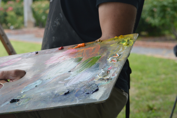 A shot of Ken's palette while in use.