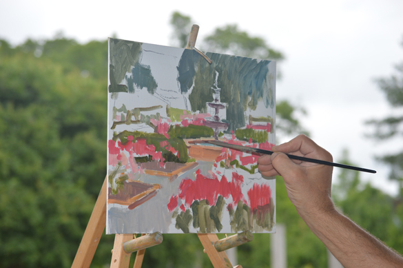 Ken works all over the painting, checking color notes and values against each other as he works.